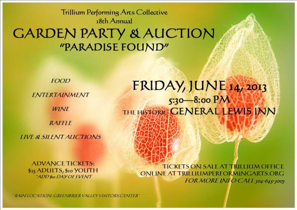Trillium Performing Arts Annual Garden Party and Silent Auction ~ Friday, JUne 14
